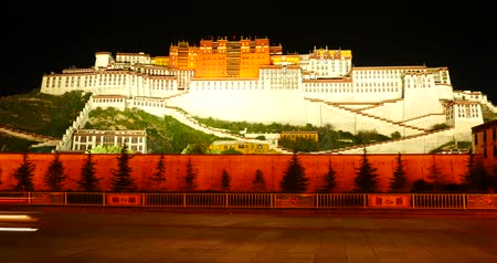 szerzetes : time lapse of busy traffic with super long exposures in front of the Potala at night in Lhasa,Tibet.
