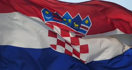 europe population : Croatia flag is fluttering in wind.