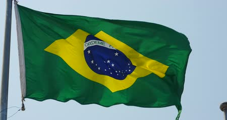brasil : Brazil flag flutters in wind.