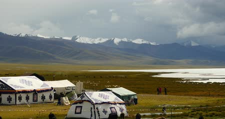 winter place : huge clouds mass rolling over lake namtso,tibet mansarovar