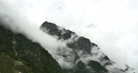 sen : time lapse of cloud cover mountain in the morning,fog pine trees,such as wonderland.Bomi County in tibet,the largest precipitation area in China. Wideo