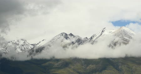 outside view : dark clouds mass rolling over Tibet snow-Covered mountains,Danggula(Tanggula) Mountains in xizang Plateau,roof of the World.