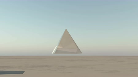 piramit : rotation glass pyramid from sky to ground in the wilderness,Science Fiction world.