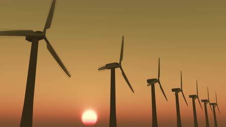 energy generation : Windmill Turbines Clean At Sunrise,Green Wind Energy,new power energy. Stock Footage