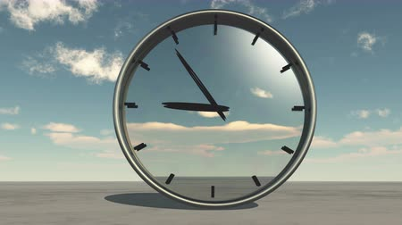 seasonal : clock in timelapse & fast flying cloud background,watch in time. Stock Footage