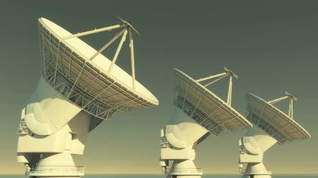 savaş : Satelite Dishes at dusk,Very Large Radio Observatories-Time Lapse,Military Radar,Space exploration. Stok Video