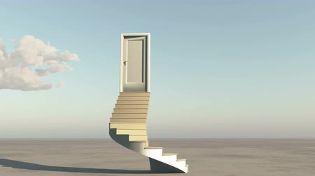 brain waves : open door with stairs,timelapse flying clouds on the wide plains,sci-fi scenes,heaven door.
