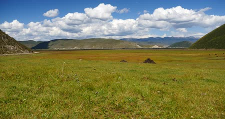 kamp : clouds mass rolling over mountains in Shangri-La yunnan,china.Napahai Wetland.
