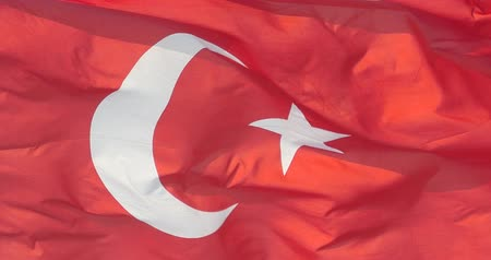 avrupa birliği : Turkey flag is fluttering in wind. Stok Video