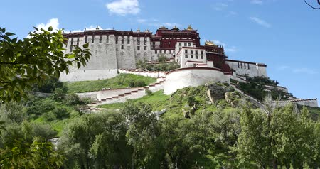 cegła : Potala with willow in Lhasa,Tibet.