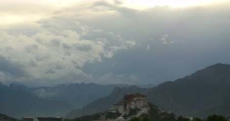tybet : Potala Palace in the morning,Lhasa,Tibet.time lapse clouds flying over mountains.