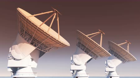 parabola antenna : Satelite Dishes at dusk,Very Large Radio Observatories-Time Lapse,Military Radar,Space exploration. Stock Footage