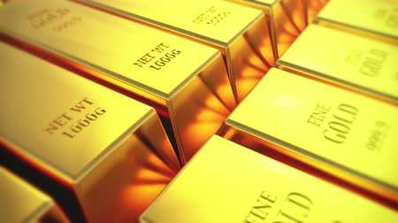 tesouro : Gold bullion gold bars treasury wealth Ingot luxury finance goods trading,3D animation of stacked gold bars.