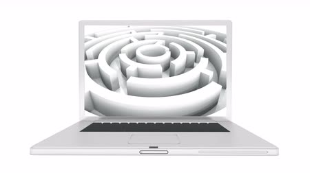 risco : Laptop play video of rotating maze,abstract business & tech background.