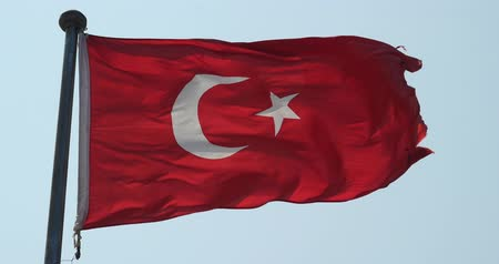 bulls balls : Turkey flag is fluttering in wind. Stock Footage