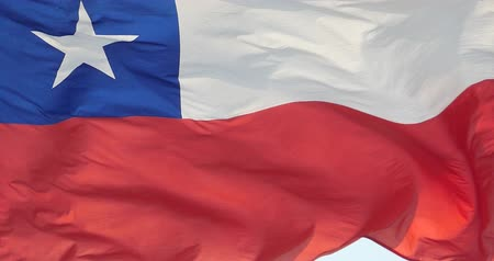 talapzat : chile flag is fluttering in wind.