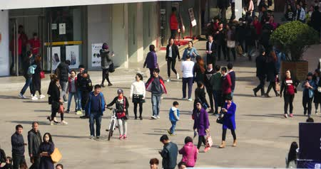businness : Huge Crowd Of People walking on china business street,QingDao,China. Stock Footage