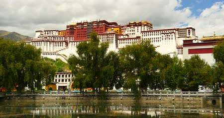szerzetes : Potala reflection on lake in Lhasa park,Tibet.lake with willow.