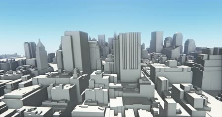 montáž : abstract urban business construction,flying over 3D Virtual Geometric City Office Buildings,aerial view of NewYork,web tech. Dostupné videozáznamy
