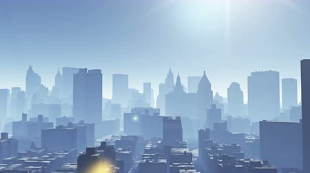 Aerial view of urban building,flying through New York under sunlight,modern world construct,architecture silhouette.