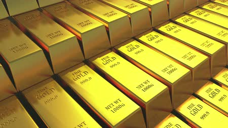 ouro : Gold bullion gold bars treasury wealth Ingot luxury finance goods trading,3D animation of stacked gold bars.