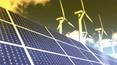 türbin : Solar panels & Wind power,green free clear energy,timelapse clouds flying.