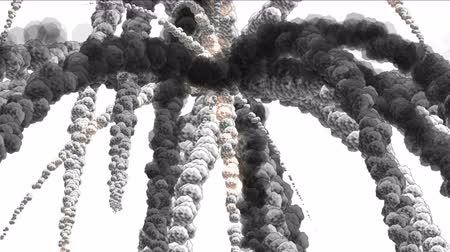 nuclear accident : Missile explosion smoke,bombing war,Volcanic eruption,battle Mushroom cloud,fireworks disaster,crash attack,terror terrorist background. Stock Footage