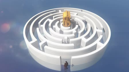 olasılık : golden dollars symbol in the center of maze,businessman Standing in the labyrinth entrance.