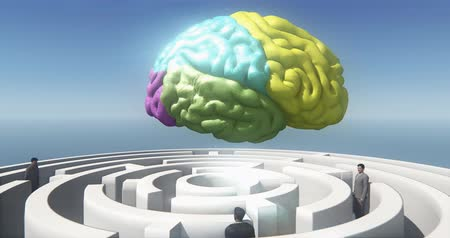 motive etmek : color brain above the maze,many businessmen standing in the labyrinth,artificial intelligence. Stok Video