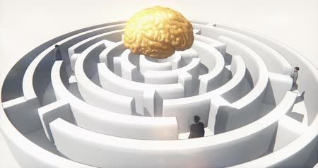 olasılık : golden brain above the maze,many businessmen standing in the labyrinth,artificial intelligence.