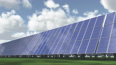 panel buildings : Solar panels-green free energy,time lapse clouds flying.