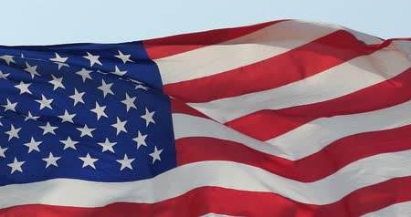 veteran's day : 4k American flag is fluttering in wind. Stock Footage