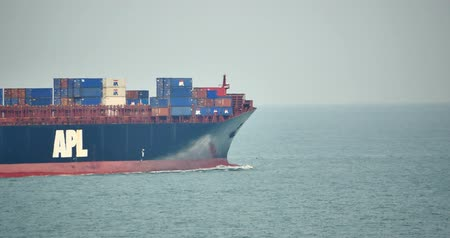 busiest : Cargo container ship in ocean. Stock Footage