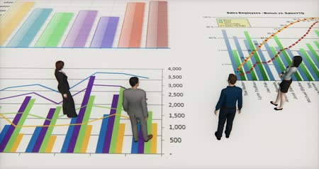 business values : business team standing on the finance pie charts & stock trend diagrams,analyze it. Stock Footage