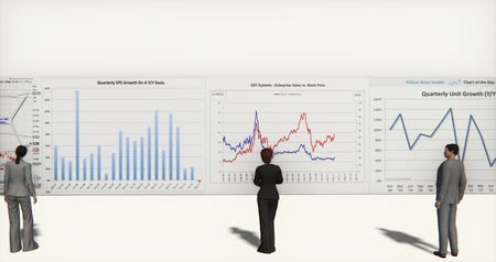 investing : 4k business team analyze finance pie charts & stock trend diagrams. Stock Footage