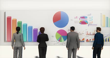 görsel : business team analyze finance pie charts & stock trend diagrams. Stok Video