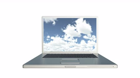 altocumulus : Cloud Computer Data Storage,Laptop play video of time lapse clouds,blue sky. Stock Footage