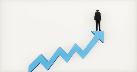 nyilak : 4k businessman standing on the top of 3d blue positive trend arrow. Stock mozgókép