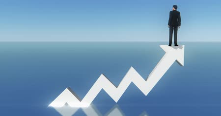esquema : 4k businessman standing on the top of 3d white positive trend arrow,facing the sea.