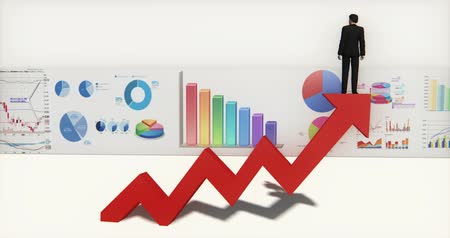 tendência : 4k businessman standing on the top of 3d red positive trend arrow,finance pie charts & stock trend diagrams.