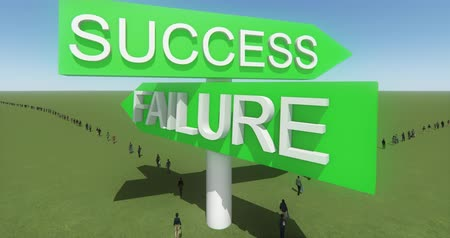 palavras : 4k businessman walking under success & failure road sign,against blue sky.