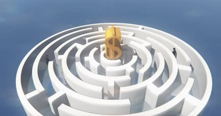 olasılık : 4k golden dollars symbol in the center of maze,businessman Standing in the labyrinth entrance. Stok Video