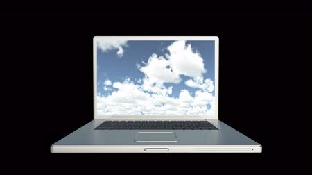 altocumulus : 4k Cloud Computer Data Storage,Laptop play video of time lapse clouds,blue sky.