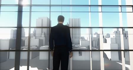 стоять : 4k a businessman standing on the front of windows & outlook business building. Стоковые видеозаписи