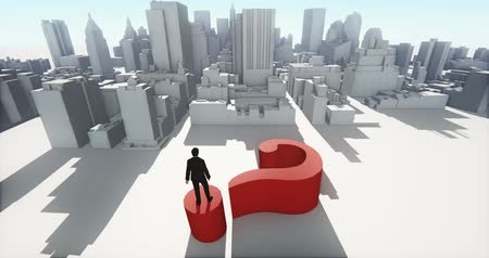 noktalama : 4k businessman standing on the top of 3d question mark,and overlook the abstract urban building,Business empire.