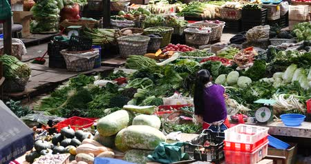 rabanete : 4k large outdoor vegetable trade market in Shangri-La,china,minority women,variety of vegetables & fruits in basket.