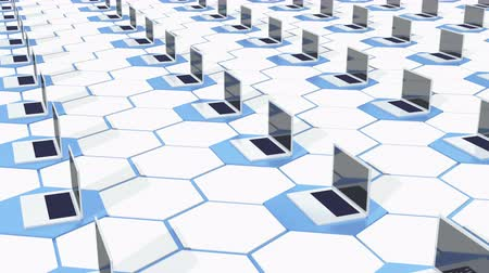 dosyalama : 4k Row Of laptop on the abstract tech hexagon background,honeycomb. Stok Video