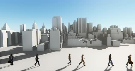 kentsel : 4k Business people walking on the front of abstract urban building,Business empire.
