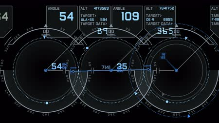 aeroespaço : 4k Radar GPS signal tech screen display,future science sci-fi data computer game navigation dashboard technology interface background. Vídeos