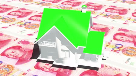 стимул : 4k rotate house on 100 RMB bills background.